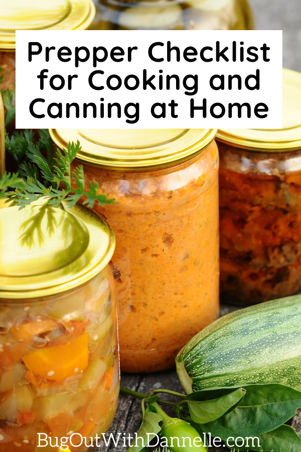 Prepper Checklist for Cooking and Canning at Home article cover image with canned goods
