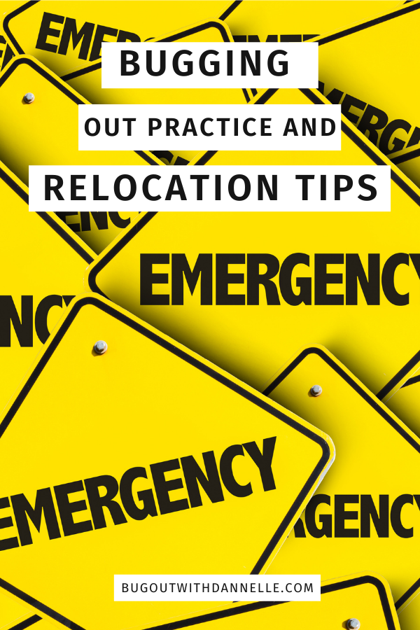 Bugging Out Practice and Relocation Tips - with printables article cover image with emergency sign background