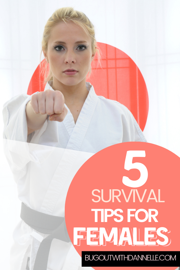 Five Survival Tips for Females article cover image of a woman doing karate