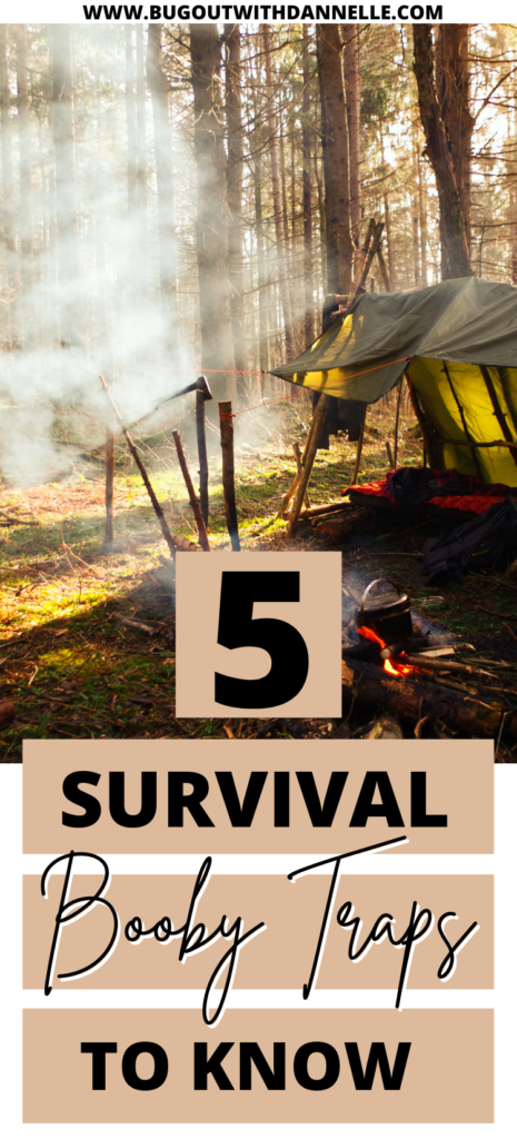 5 Survival Booby Traps to Defend Against Attackers article cover image with a rough camp set up